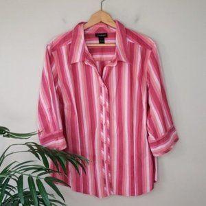 Lane Bryant | Pink Striped 3/4 Sleeve Button Shirt